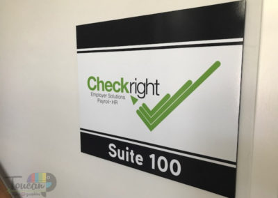 Checkright interior wall sign