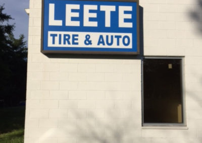 Leete Tire & Auto-blue and white sign2
