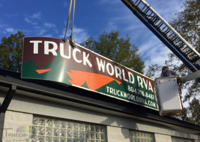 Truck World RVA roof sign